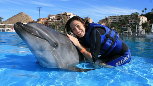 woman petting dolphin in Los Cabos