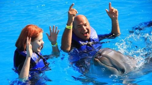 happy dolphin swims next to man and woman in Los Cabos