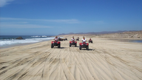 people driving several ATV's on sandy beach in Los Cabos