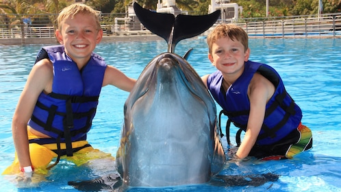 two boys smiling with dolphin in Los Cabos