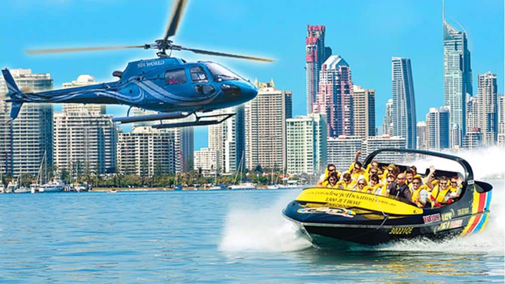 Show item 1 of 5. Jet Boat and a Helicopter with Gold Coast skyline in the background