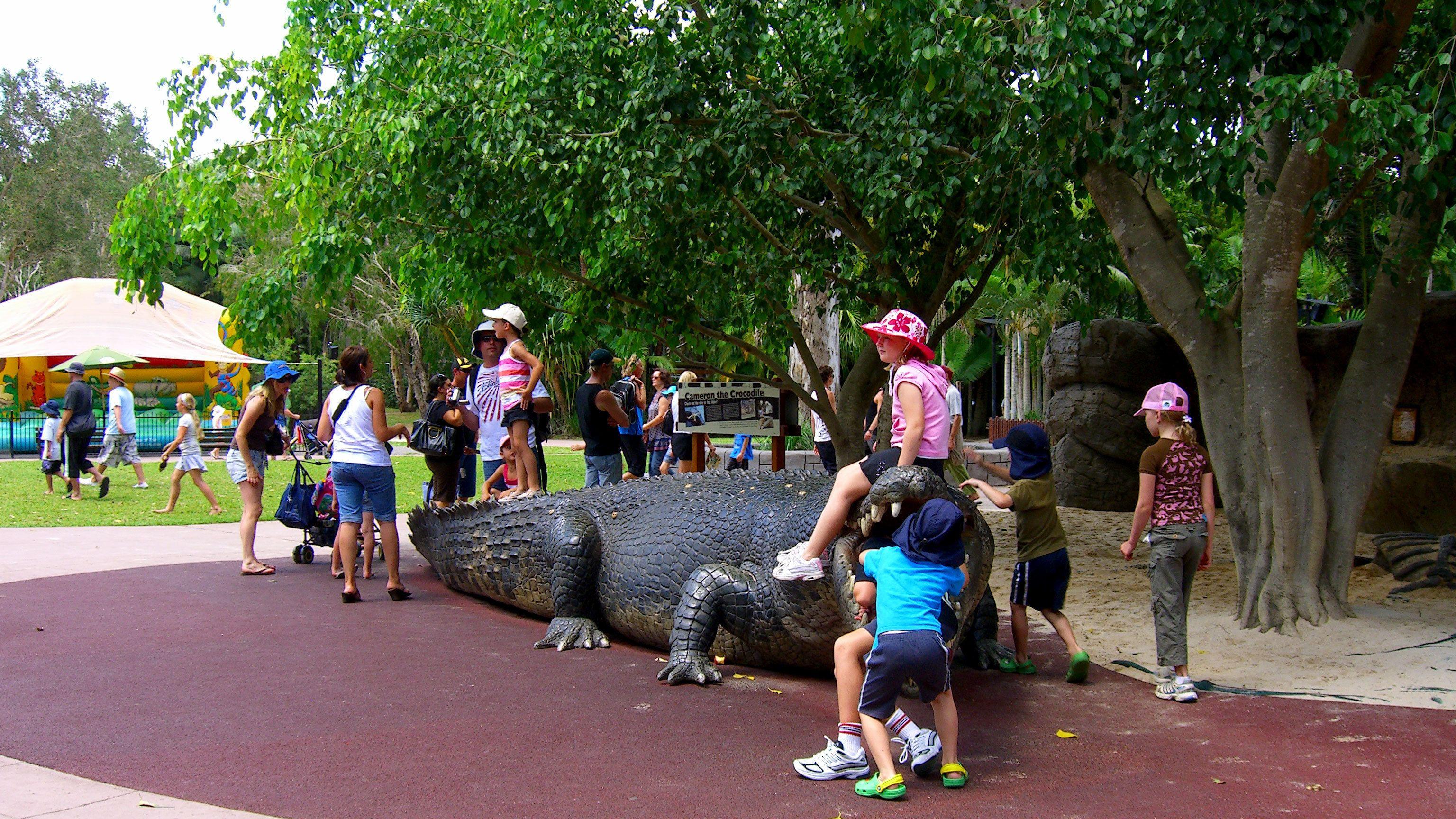 Statue of a crocodile at the Australia Zoo in Australia