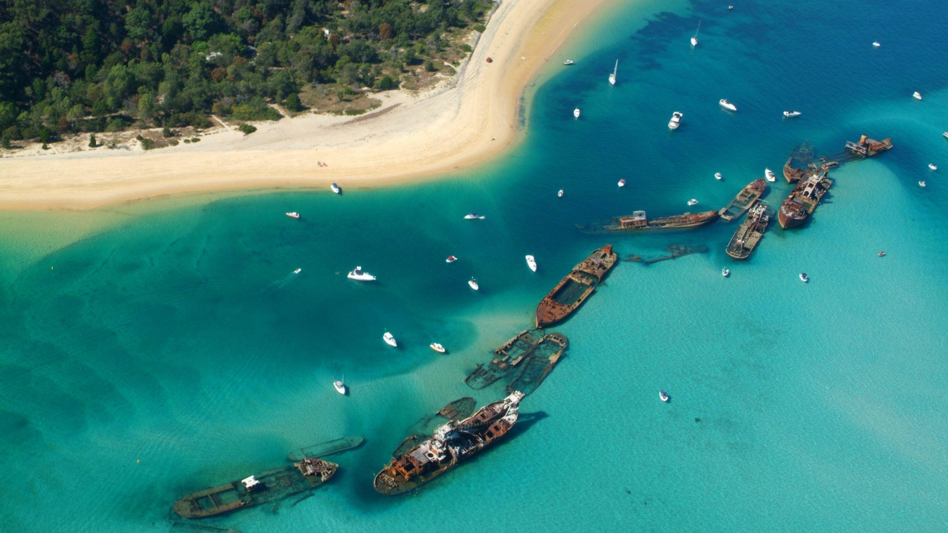 Aerial view of Tangalooma Island shipwrecks