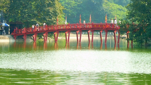 red bridge above the lake in Vietnam