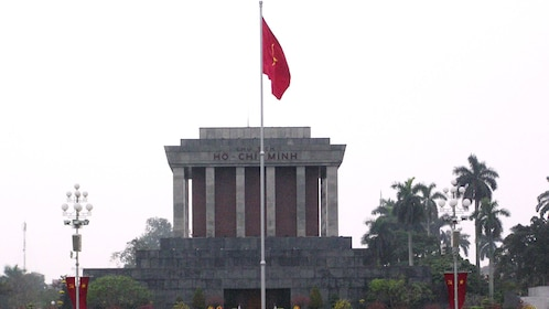raised flag at the The Ho Chi Minh Mausoleum in Vietnam