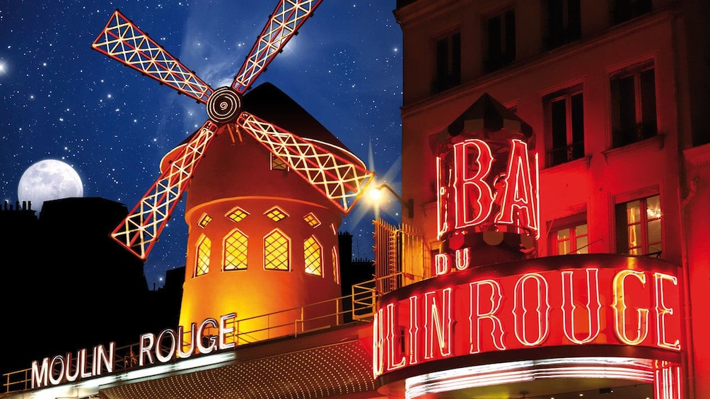 Outside the Moulin Rouge in Paris.