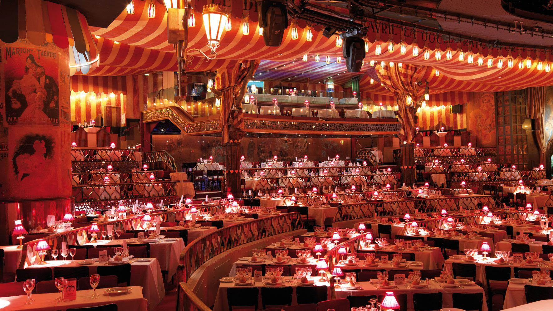 Dining room at the Moulin Rouge.