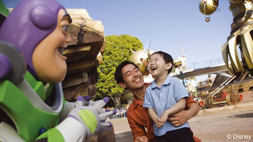 Father and son with Buzz Lightyear at Disneyland Paris