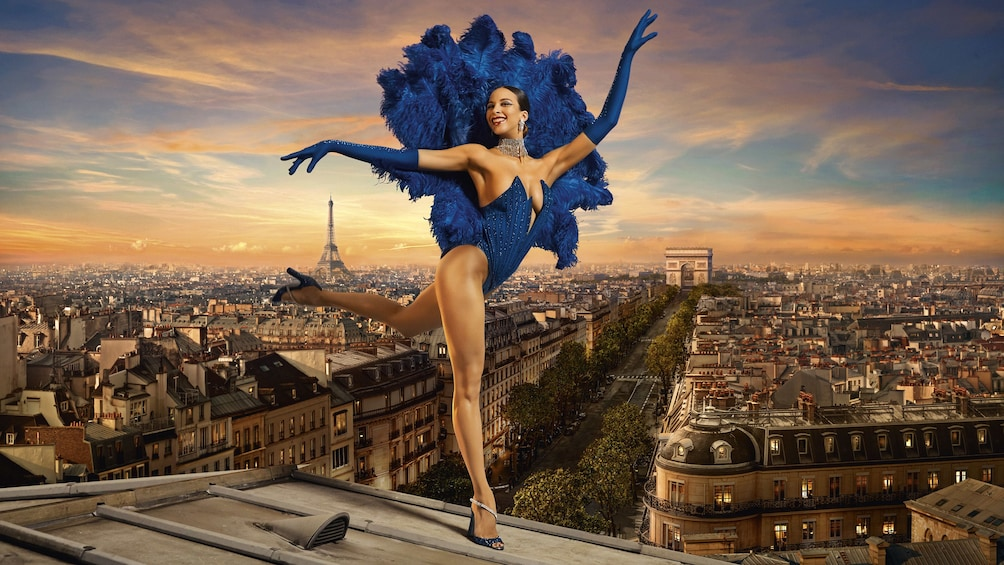 Show item 3 of 7. Woman cabaret performer on rooftop in Paris