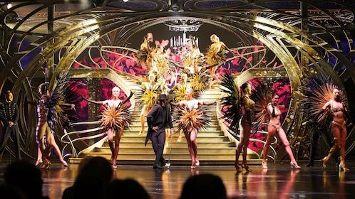 Feathered dancers at Lido Cabaret in Paris.
