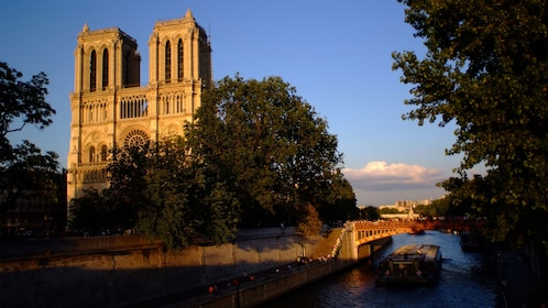 Notre Dame at sunset in Paris.