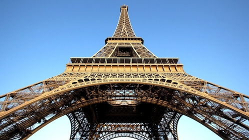 Looking up at the Eiffel Tower in Paris.