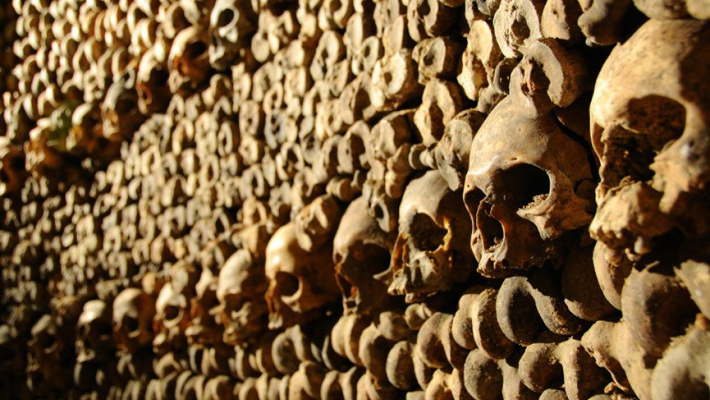 Detail of a wall of skulls and bones of a crypt in Paris.