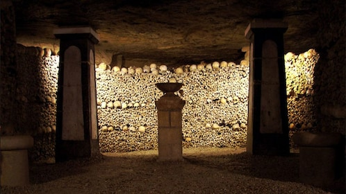 Inside a crypt in Paris.