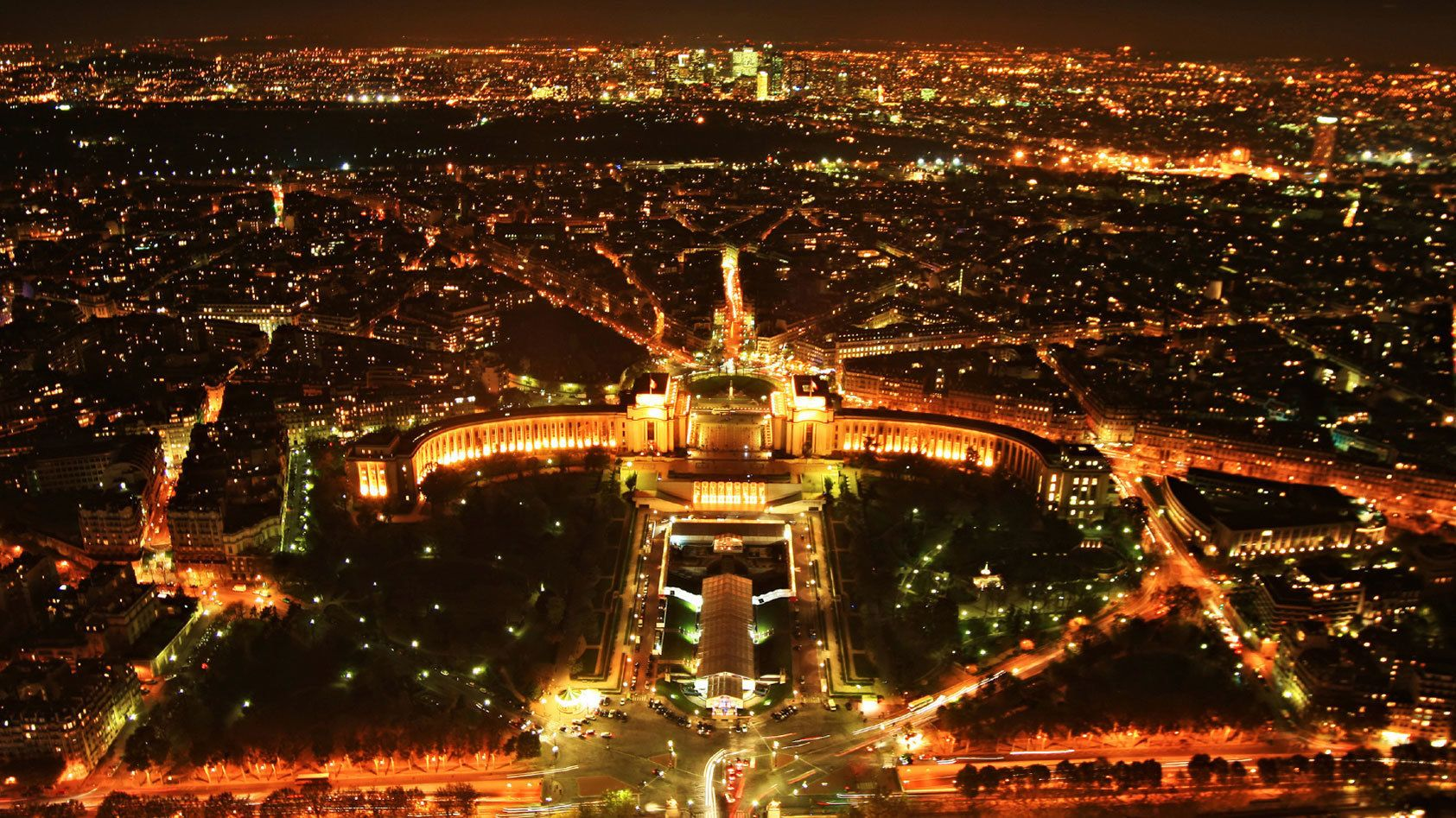Aerial view of Paris at night.