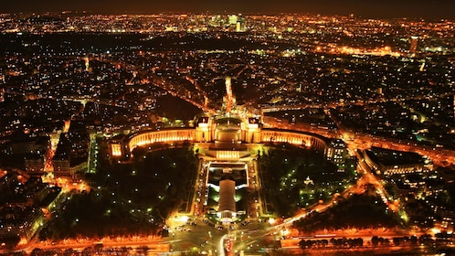 Aerial view of Paris at night.