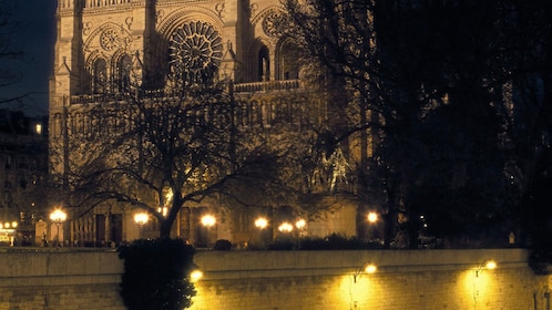 Notre Dame at night.