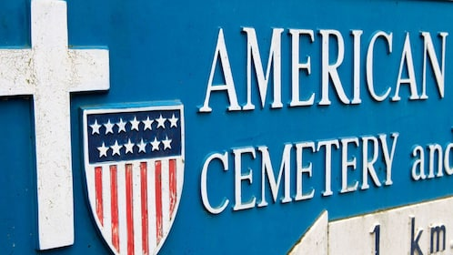 American cemetery sign at Normandy.