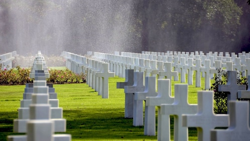 Rows of graves at a cemetery in Normandy.
