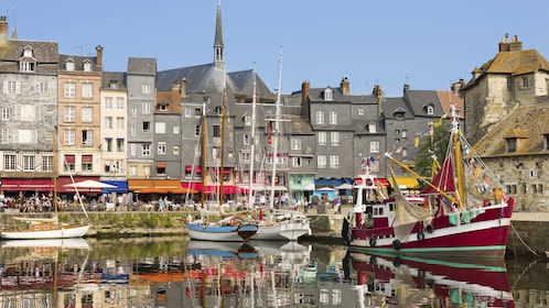 Boats docked in a bay at St. Malo