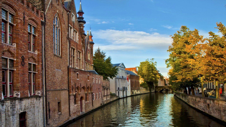 Scenic river in Bruges.