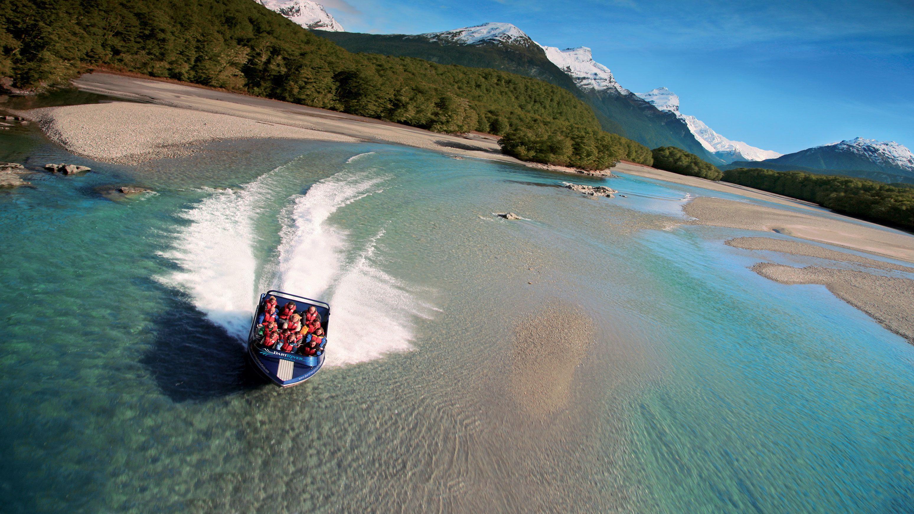 the jet safari boat speeding along the beach in New Zealand