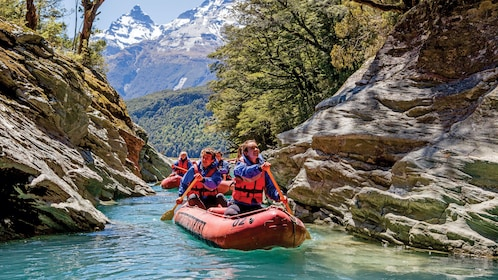 paddling inflatable rafts in New Zealand
