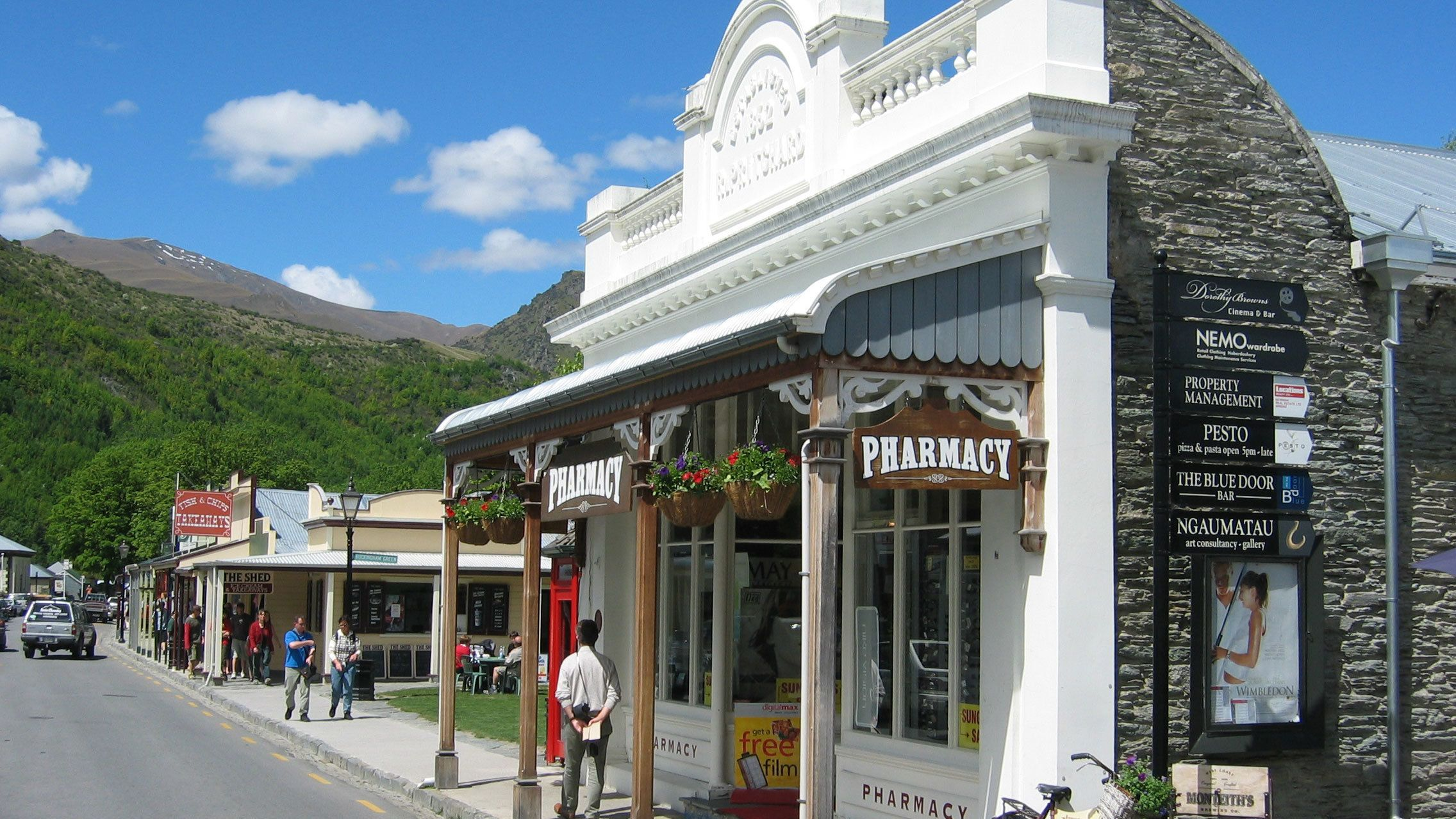 small retail stores along the street in New Zealand