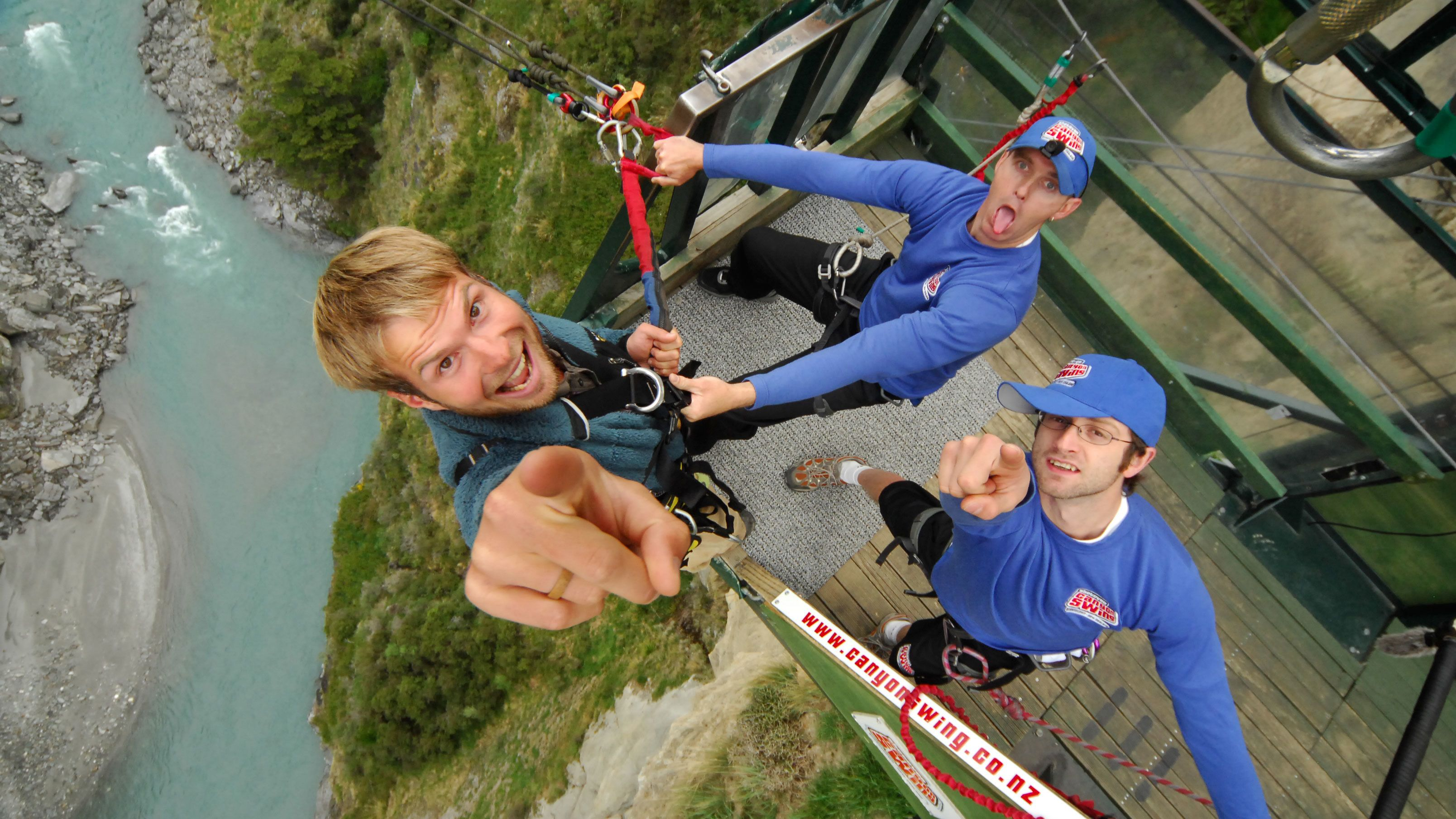 man about to bungee in New Zealand