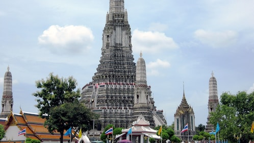 ornate pagodas and spires of a temple in bangkok