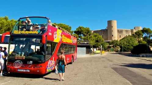 Double decker tour bus featuring an open air roof-top for guests to enjoy panoramic views of the city