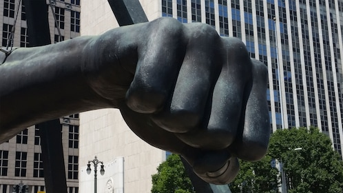 A sculpture of a fist in Detroit