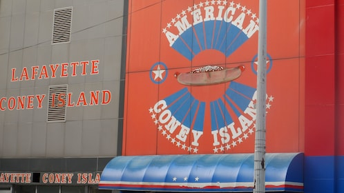 Signs for Coney island hot dogs in Detroit