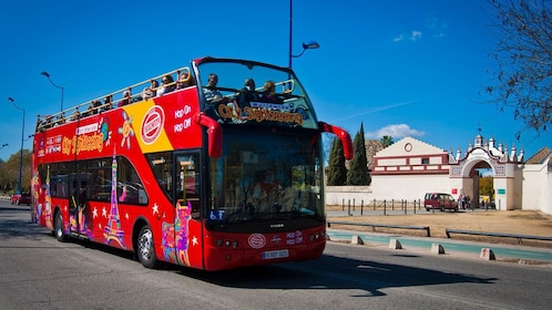 Hop on Hop off red double decker bus in Seville