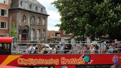 View of the top deck of a double decker bus making a tour of Brussels