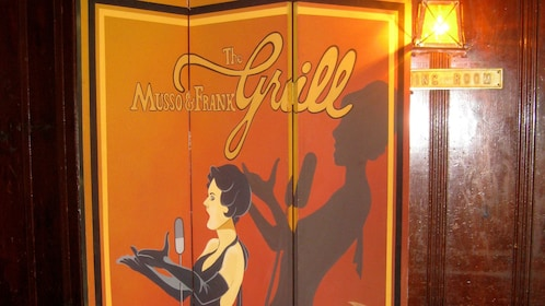 Sign for Musso and Frank Grill in Los Angeles.