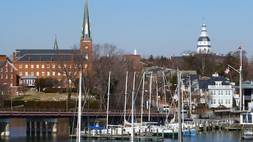 View of historical buildings in Annapolis from the water