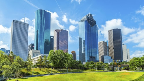 View of Downtown Houston on a beautiful sunny day