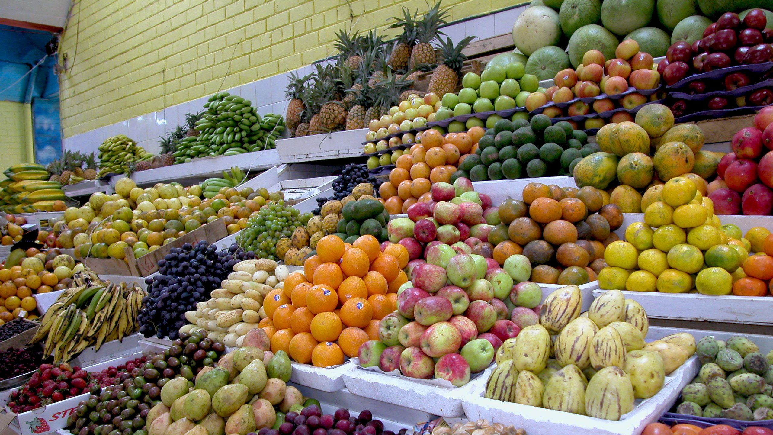fresh fruits at the market in Ecuador