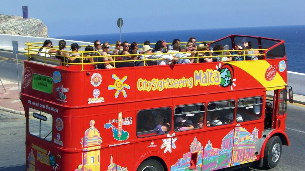 Open air double decker tour bus offers fantastic views of Malta