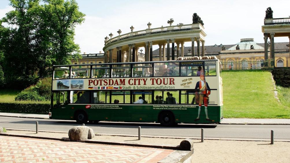 Open air double decker tour bus offers unique views of Potsdam