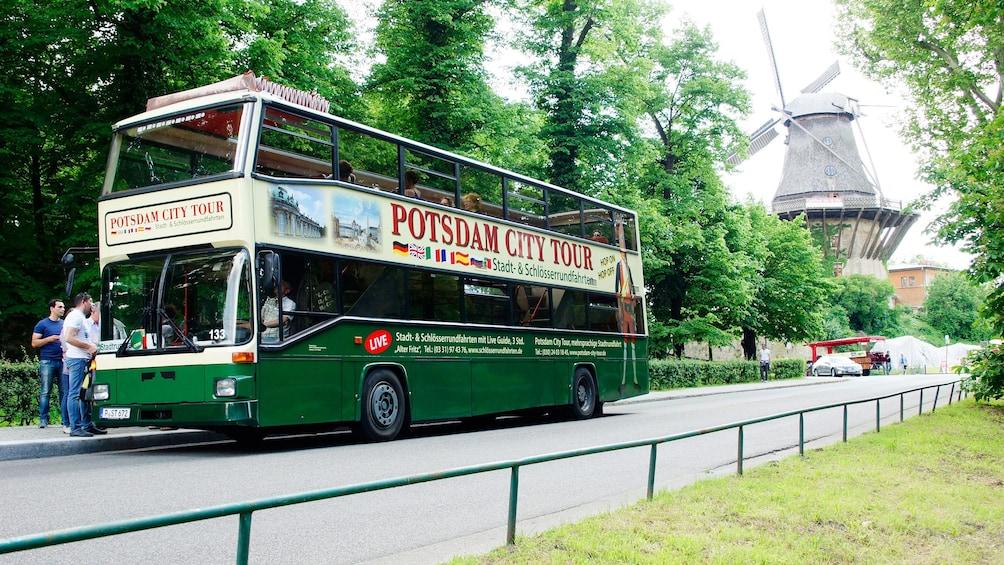 Guests embark on a tour around Potsdam via double decker bus