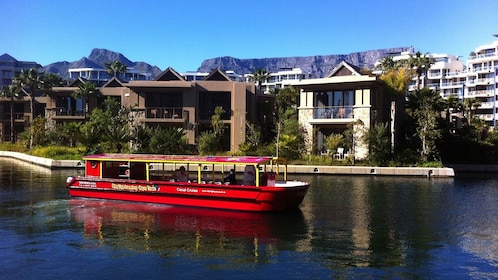 Boat departing near Table Mountain in South Africa