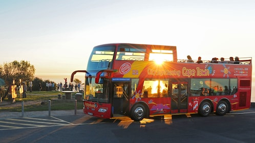 Bus stopping to catch the sunset in South Africa