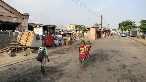 Children walking in the streets in Accra