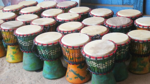 Dozens of drums for sale at a market in Accra