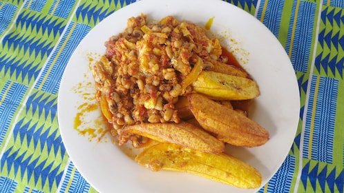Plate of traditional West African food in Accra