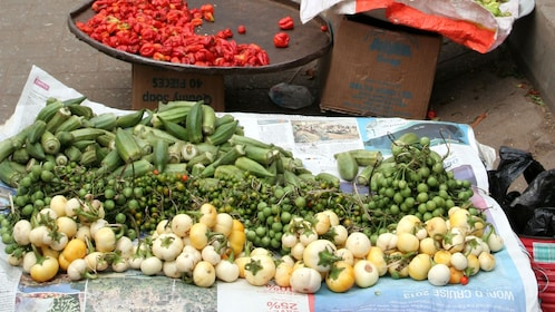 Fresh vegetables for sale at a market in Accra