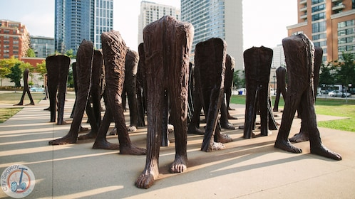 sculptures on legs and feet in chicago