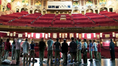 Tour group on stage of theatre in chicago